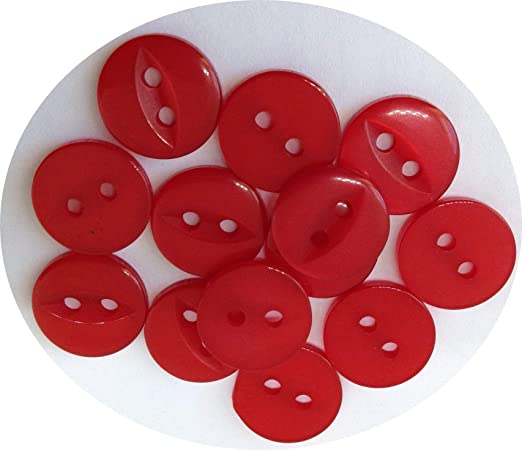 10 botones para blusa o camisa de 11 mm aprox. en acrílico. Estos botones tienen dos agujeros y son de color rojo brillante.: Amazon.es: Hogar