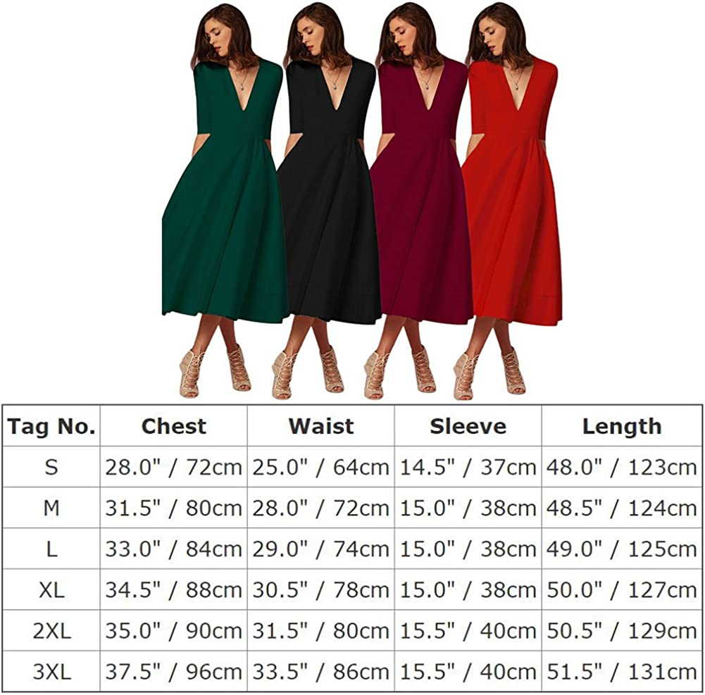 IWEMEK Womens Elegant Deep V-Neck Half Sleeves Dresses Cocktail Wedding Evening Party Prom Bridesmaid Gown Midi Swing Dress