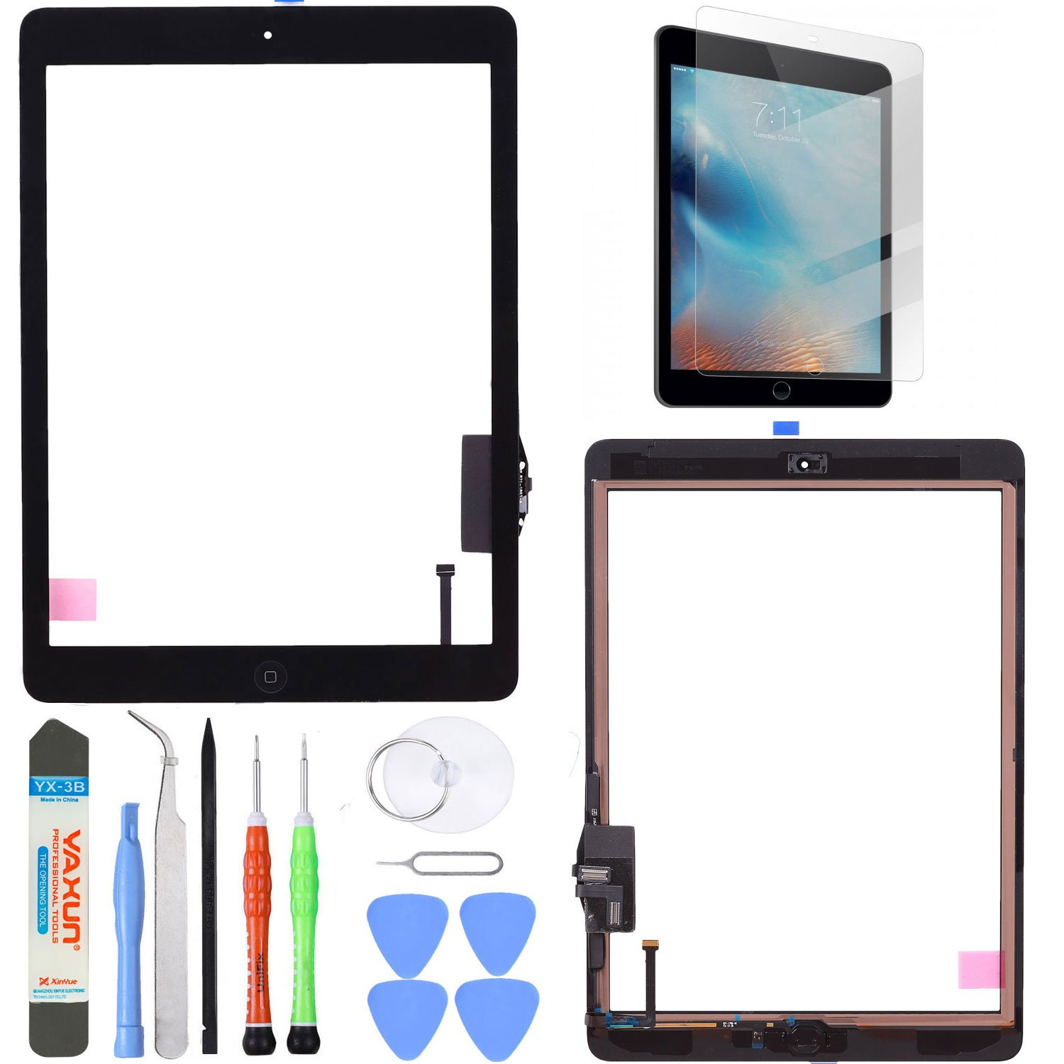 Unifix Black Touch Screen Glass Digitizer For iPad Air 1st Generation with Pre-installed Adhesive + Home Button + Toolkit