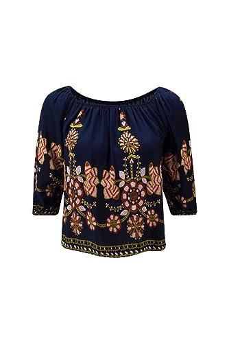 Beauty7 Impresos Florales Off Hombro 3/4 Mangas Camisetas Mujer Verano Off Shoulder Camisas Casual B...