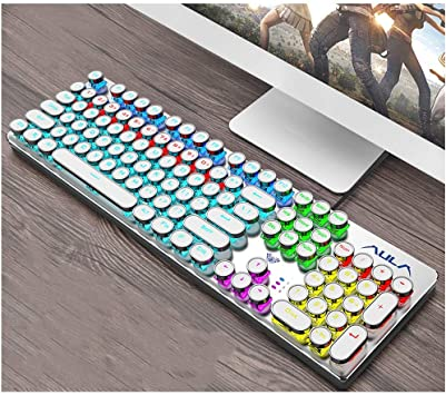 Laptop Desktop Peripheral Wired Keyboard Gold Products White Color : White Green Axis Black Axis Tea Shaft Black CHENTAOCS Mechanical Keyboard