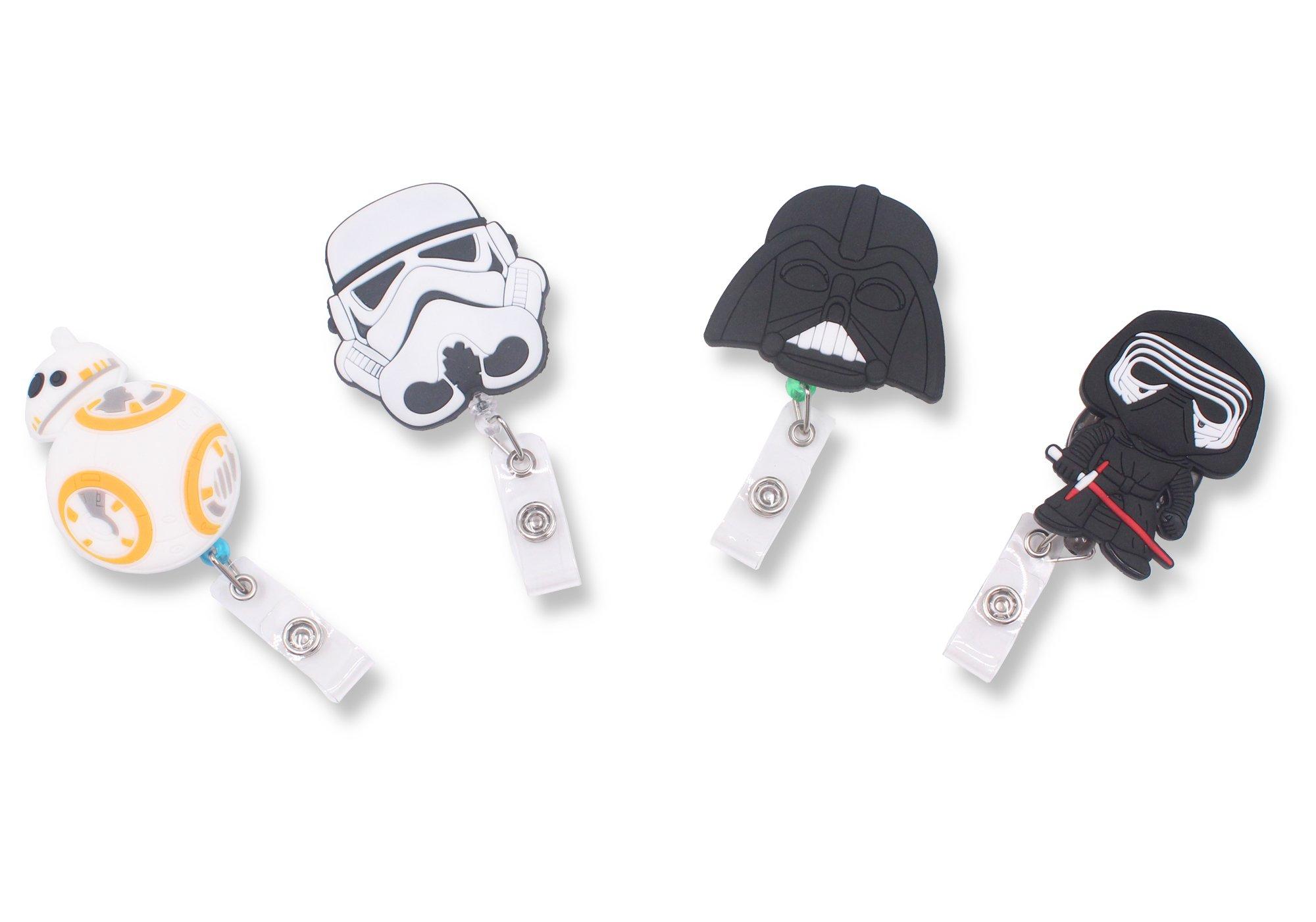 Finex Star Wars BB8 Darth Vader Kylo Ren Stormtrooper Set of 4 Retractable Badge Holder ID Badge Reel Clip On Card Holders