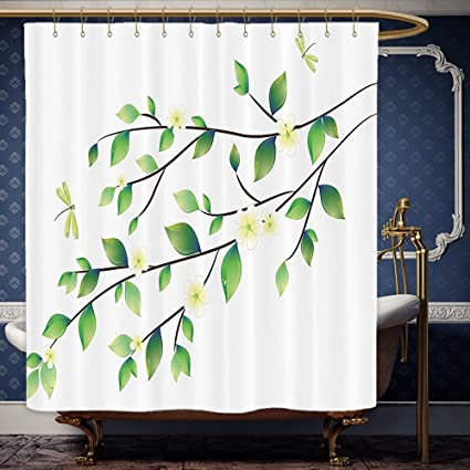 Wanranhome Custom Made Shower Curtain Country Decor Leaves With Little Dragonflies And Jasmine Environmental Botanical