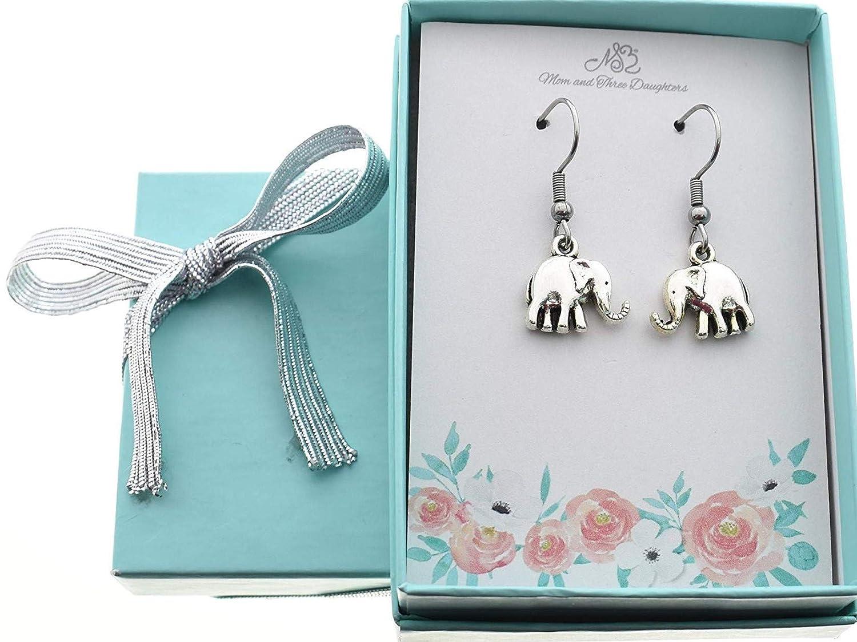 Elephant Jewelry Elephant Earrings Elephant Gifts Elephant Earrings in Silver Toned Metal Elephant Lover