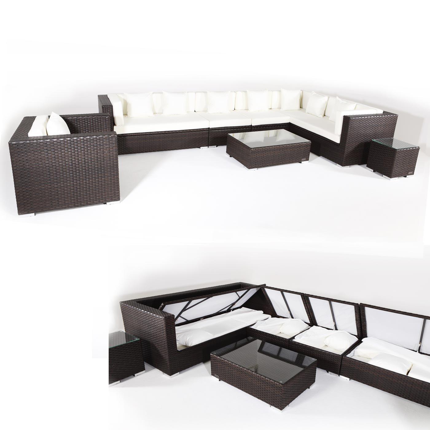 Poly-Rattan Sofa-Garnitur AH003, Lounge-Set Gartengarnitur Sitzgruppe, Kissenboxfunktion ~ braun