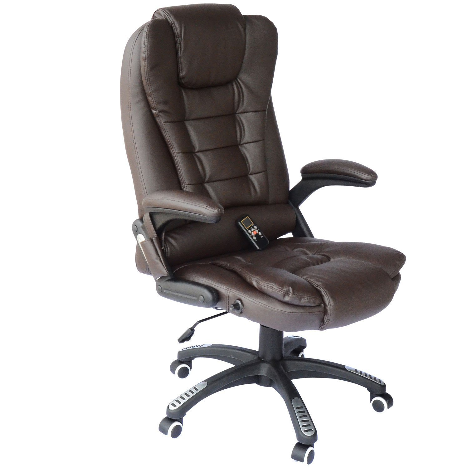 HOMCOM Adjustable Heated Ergonomic Massage Office Chair Swivel Vibrating High Back Leather Executive Chair Home Office Furniture (Brown) Aosom Canada