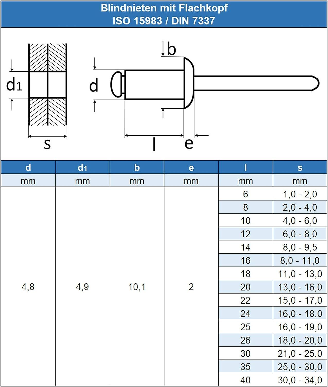 Flachkopf 6,0 X 30 mm Edelstahl A2 Blindnieten DIN 7337 m 100 St/ück - Popnieten Nieten