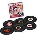 MECOWON Coasters Vinyl Record Disk Coaster for Drinks,Set of 6 Rockabilly Vinyl Coaster Set with Funny Labels, Protect…