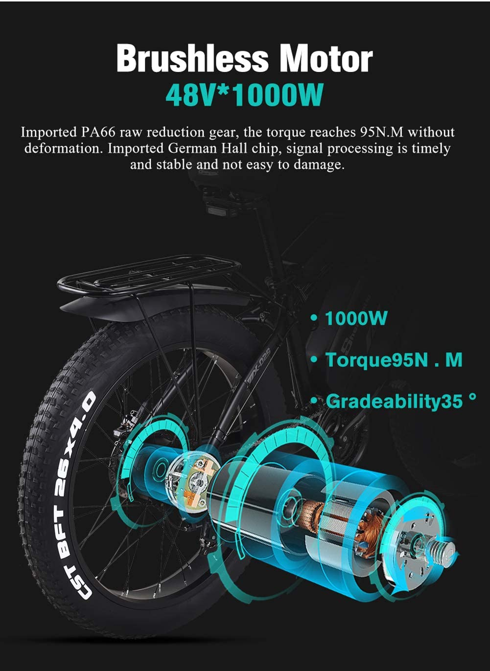 Shengmilo-MX02S 26 Inch Fat Tire Electric Bike 48V 1000W Motor Snow Electric Bicycle with Shimano 21 Speed Mountain Electric Bicycle Pedal Assist Lithium Battery Hydraulic Disc Brake