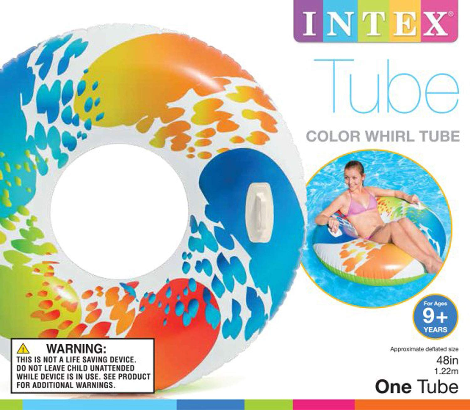 Intex Inflatable 47'' Color Whirl Tube Swimming Pool Raft with Handles (8 Pack) by Intex (Image #5)