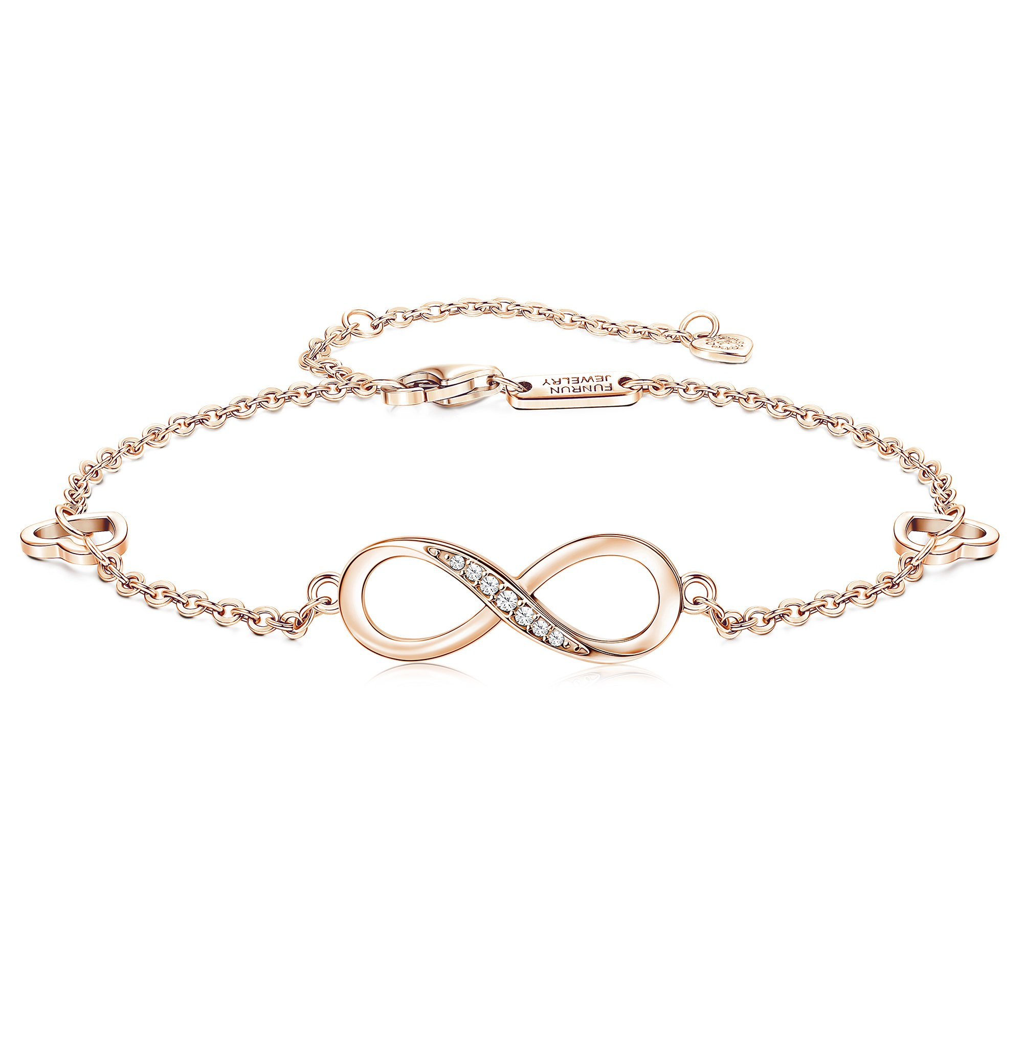 FUNRUN JEWELRY 925 Sterling Silver Infinity Bracelets and Anklet Bracelets for Women Girls 4-Level Adjustable Length Gift for Mother's Day (Anklet(Rose Gold Plated:8.5''+1.77'' Extender Chain))