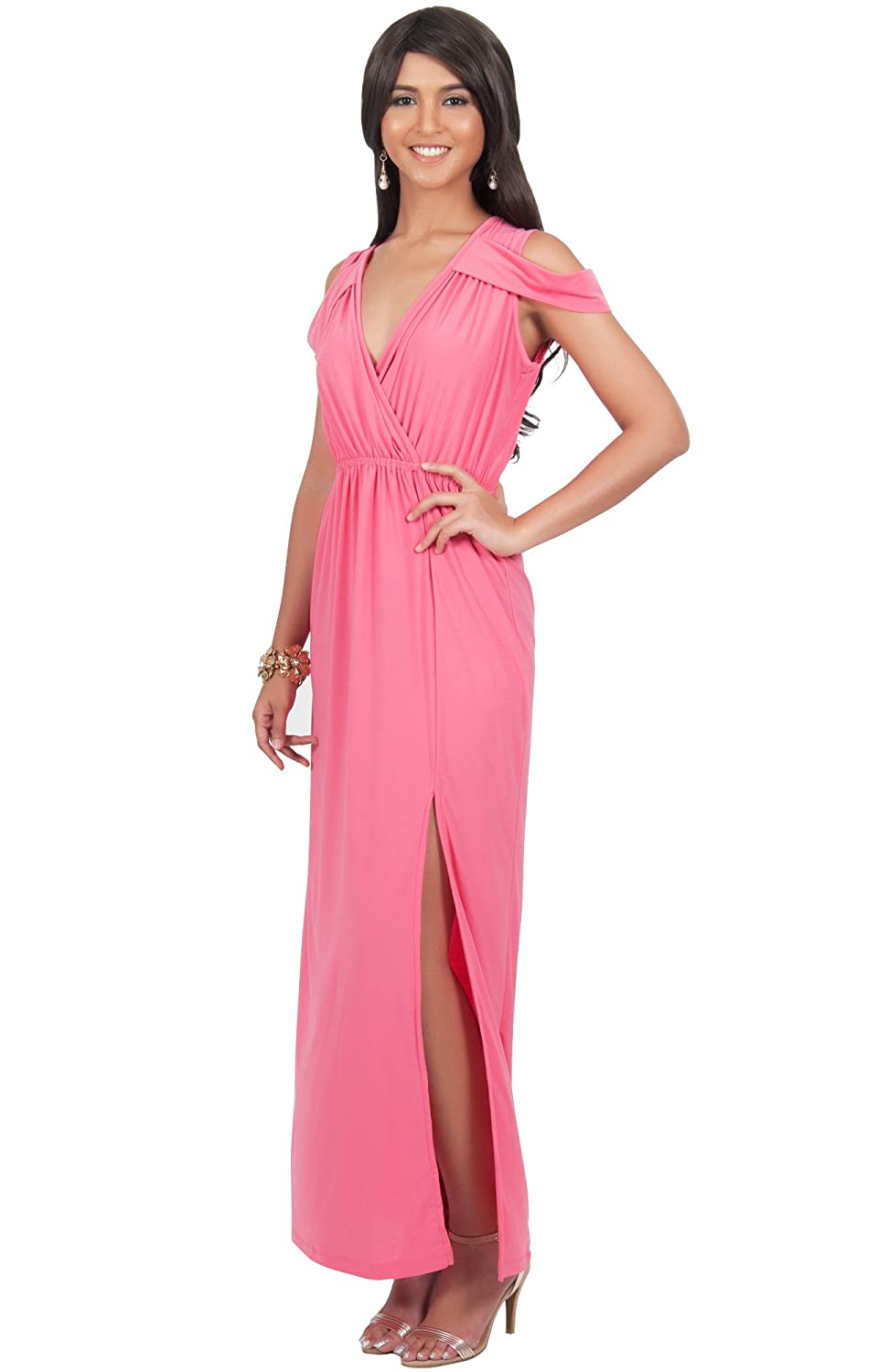 879ee808269f8 Amazon.com  KOH KOH Plus Size Womens Long Sexy Off Shoulder Summer Split  Slit V-Neck Evening Party Wedding Guest Bridesmaid Prom Sundress Gown Gowns  Maxi ...
