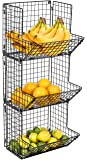 Sorbus 3-Tier Fruit Stand & Wall Mount Kitchen Storage Bin Multipurpose Foldable Organizer, Great for Kitchen, Bathroom…
