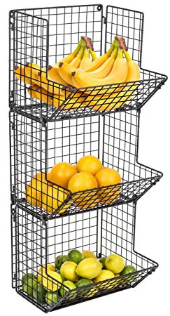 Sorbus 3-Tier Fruit Stand Wall Mount Kitchen Storage Bin Multipurpose Foldable Organizer, Great for Kitchen, Bathroom, Laundry Organization Black