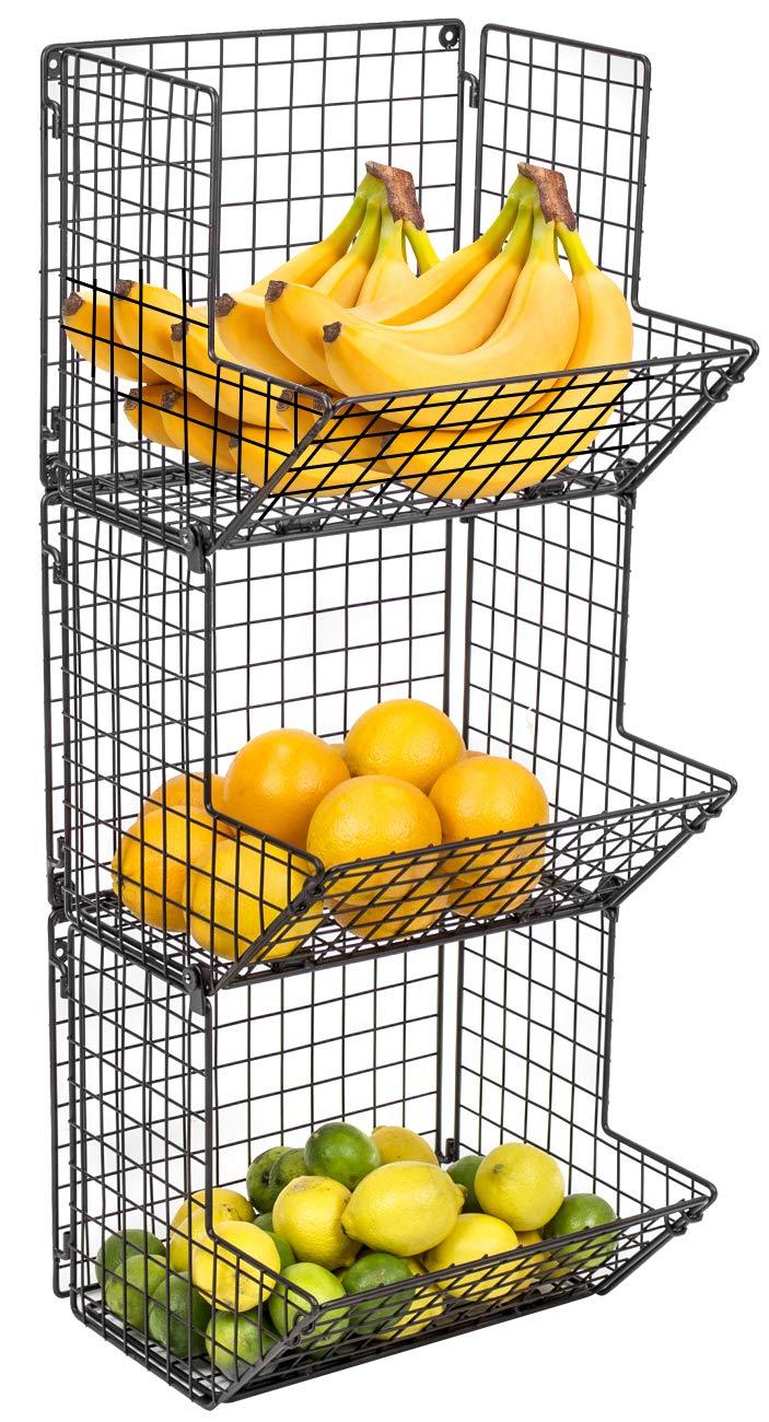 Sorbus 3-Tier Fruit Stand & Wall Mount Kitchen Storage Bin Multipurpose Foldable Organizer, Great for Kitchen, Bathroom, Laundry Organization (Black)