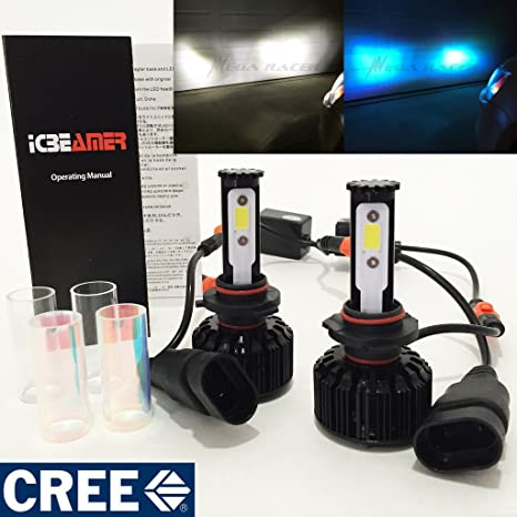 Mega Racer 9005-HB3 CREE COB LED 6K White 10K Blue Kit Kit Headlight High