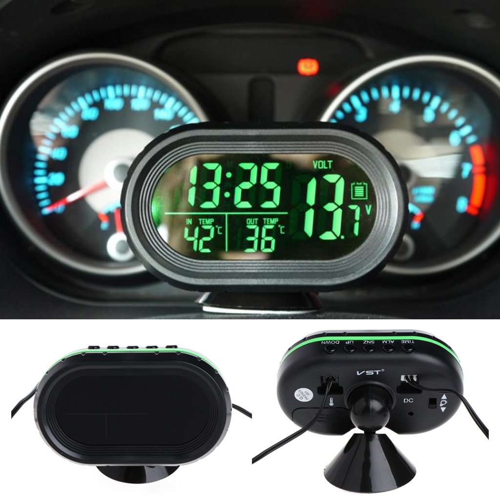 Qisuw 3-in-1 Car LCD Digital Clock DC 12V-24V Freeze Alert Green Voltmeter Thermometer Battery Voltage Temprerature Monitor