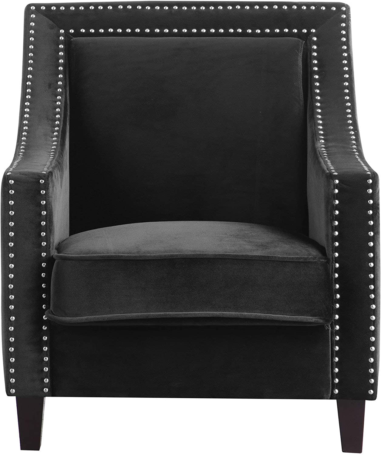 Iconic Home Camren Accent Club Chair Velvet Upholstered Swoop Arm Silver Nailhead Trim Espresso Finished Wood Legs Modern Contemporary, Black,FAC2993-AN
