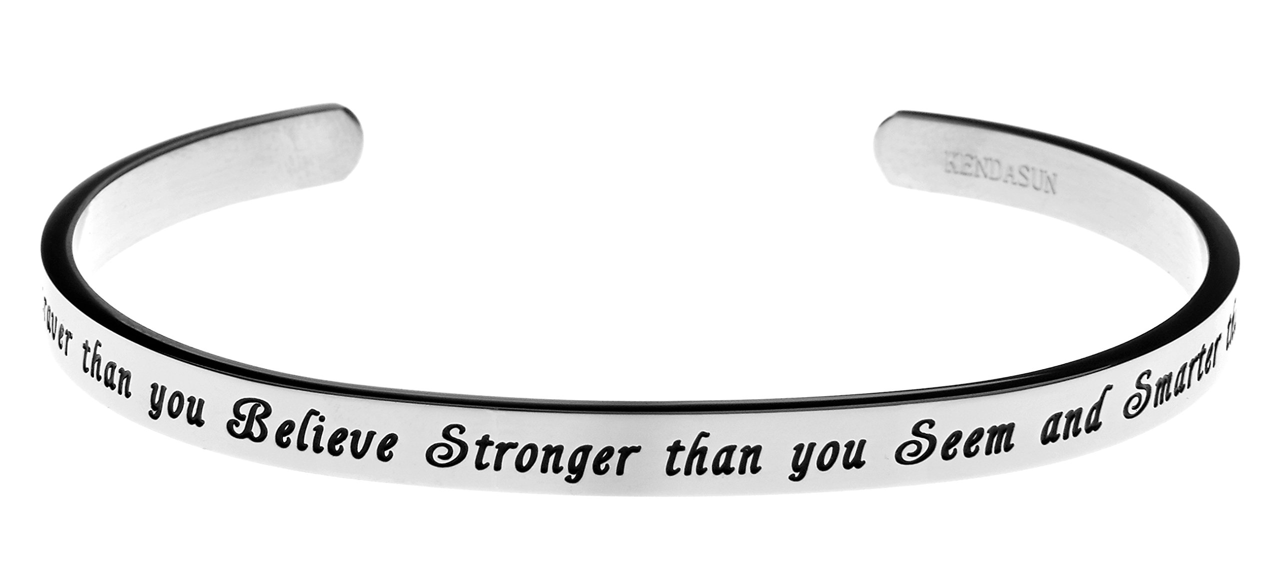 ''You are Braver than you Believe Stronger than you Seem and Smarter than you Think'' Cuff Bangle Bracelet (White)