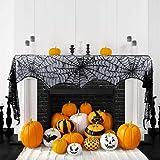 hokic 18x 96インチハロウィンブラックレース蜘蛛の巣暖炉Mantleスカーフハロウィンデコレーション用、Halloween Cobweb暖炉スカーフ