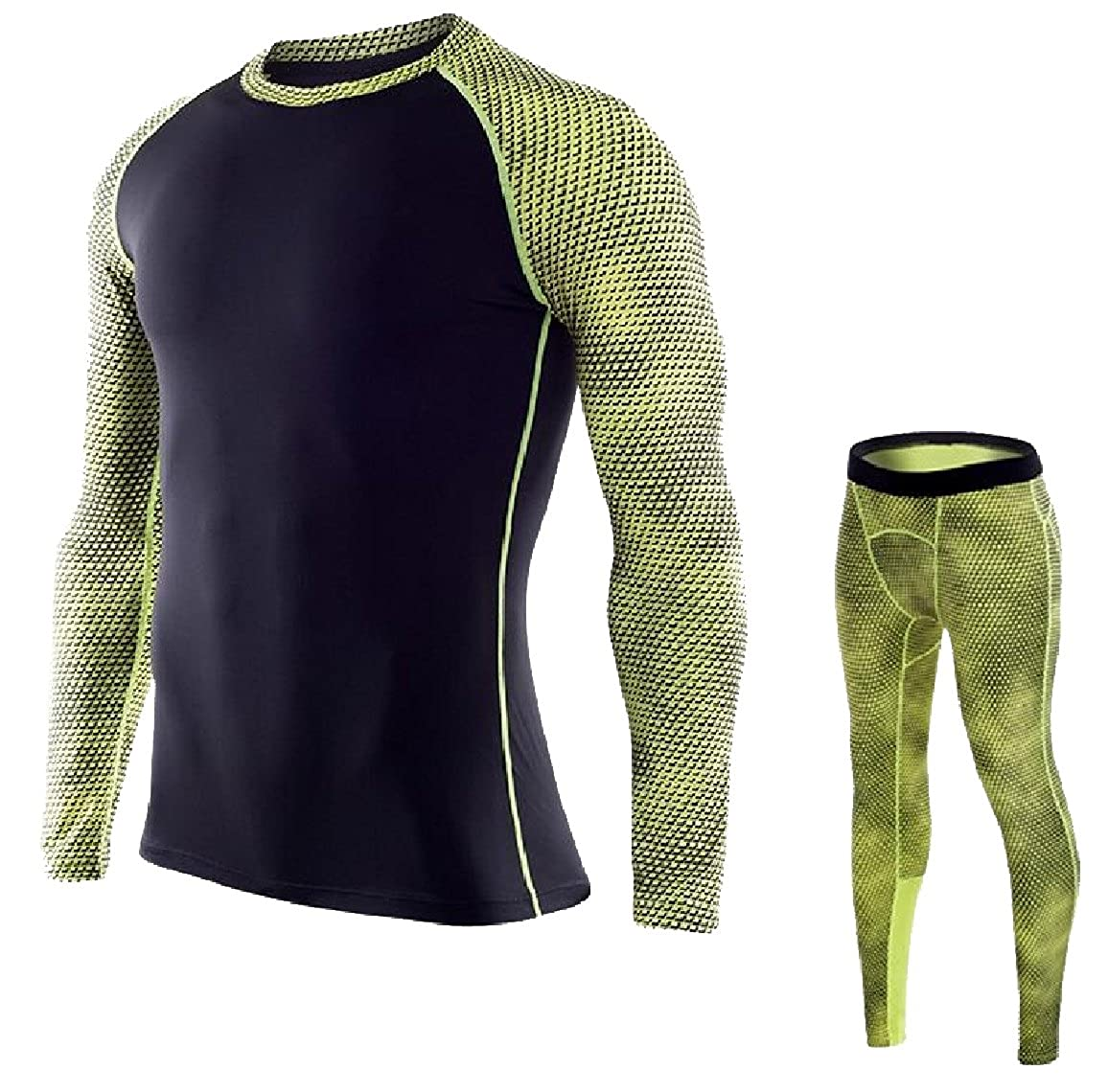 Sexybaby Men Classic Printing Pattern Quick Dry Thermal Underwear Set