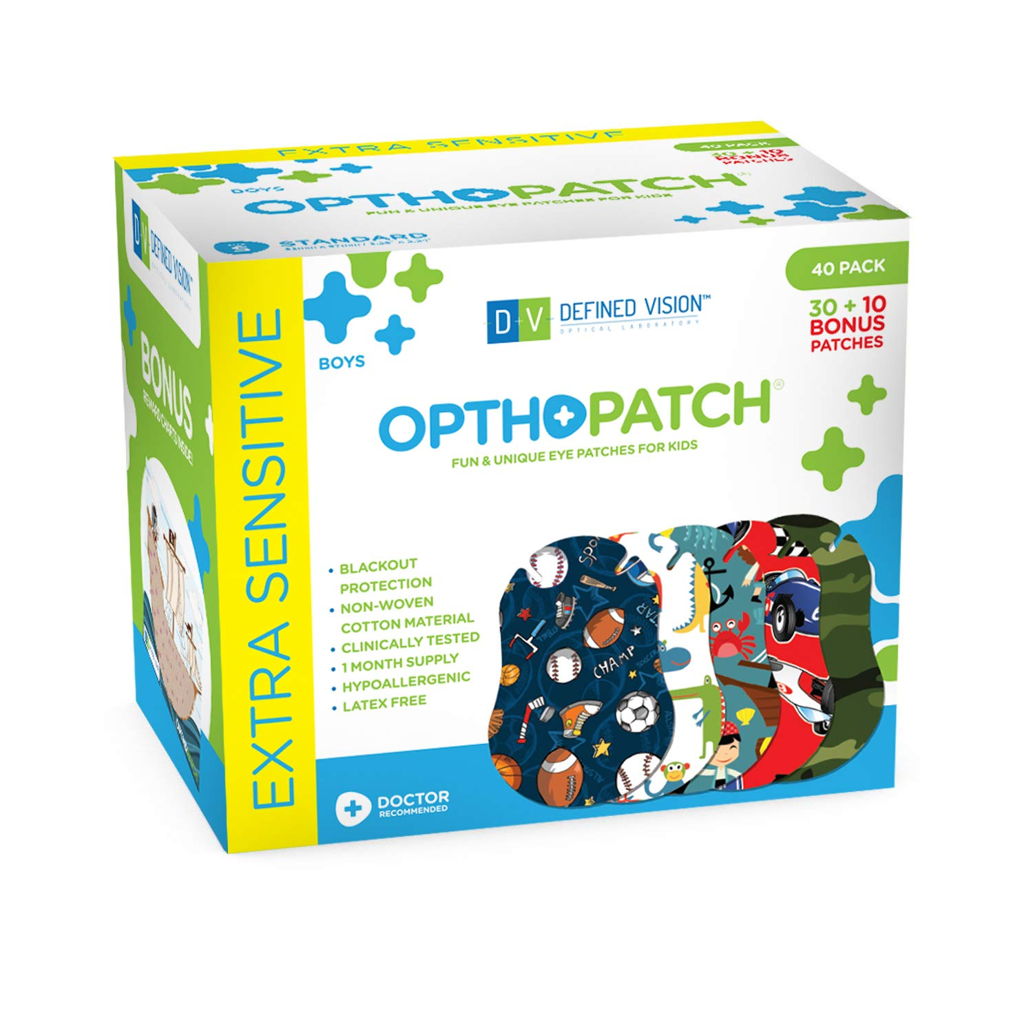 Opthopatch Kids Eye Patches - Fun Boys Design - 30 + 10 Bonus Latex Free Hypoallergenic Cotton Adhesive Bandages for Amblyopia and Cross Eye - 2 Reward Chart Posters by Defined Vision