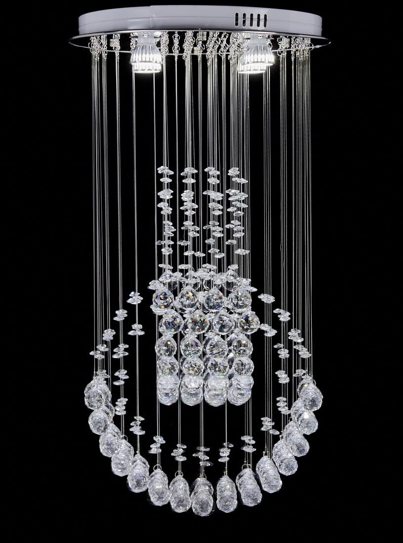 Diamond Life Modern Rain Drop LED Chandelier with Crystal Balls Ceiling Lighting Fixture W16 xL16 xH30 , Bulbs Included