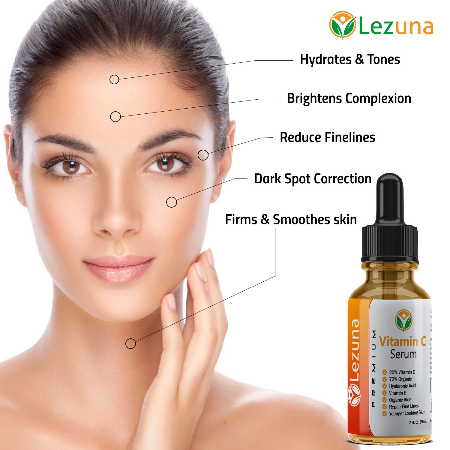 Vitamin C Serum With Hyaluronic Acid,Larger 2 Oz Size, Organic Aloe, Jojoba Oil, Vitamin E, Reduce Fine Lines, Anti-Aging, Hydrates & Tones, Dark Spot Correction, Smoother Younger Looking Skin by Lezuna (Image #6)