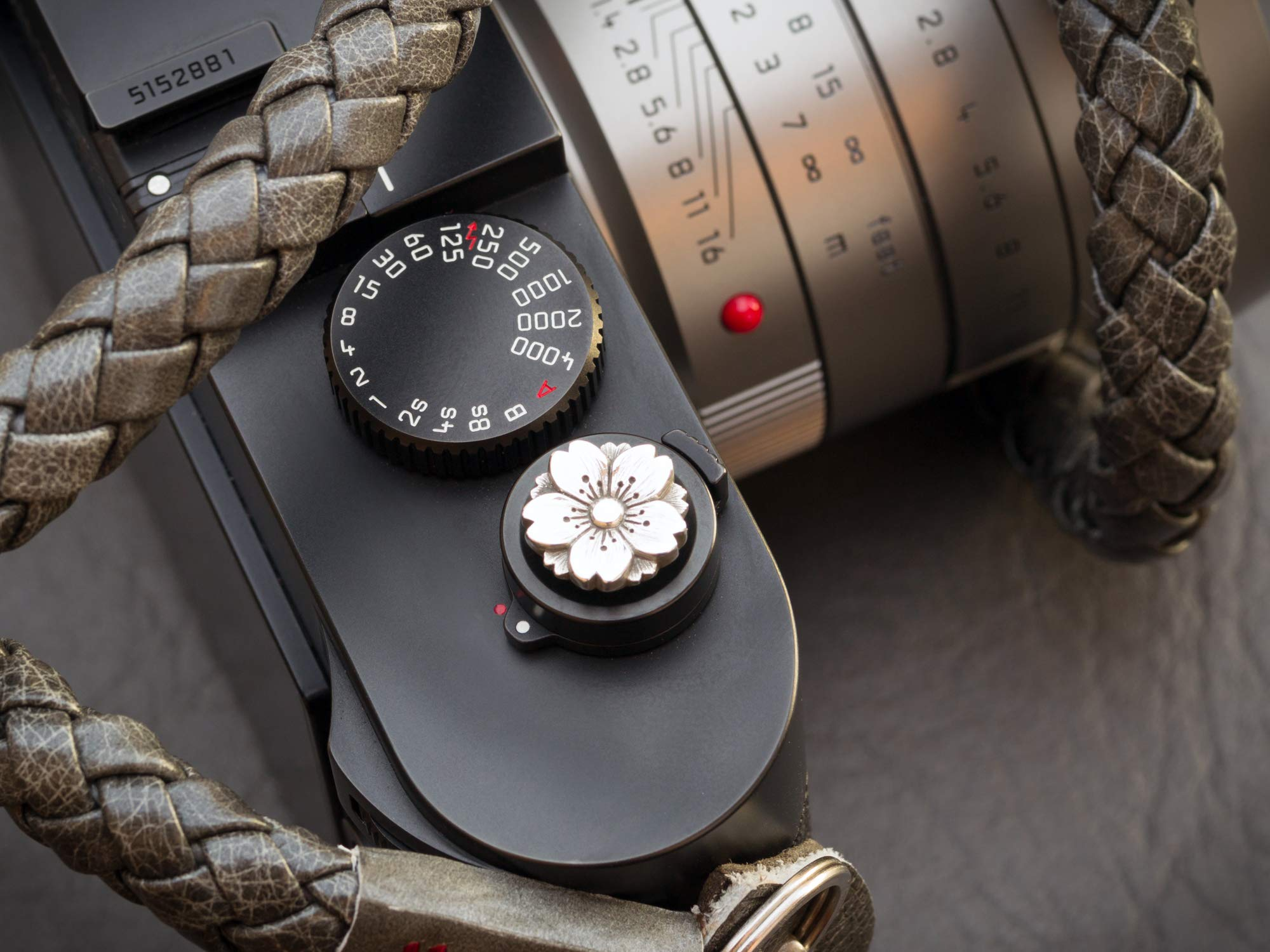 Jay Tsujimura Sterling Silver Soft Shutter Release Button Sakura for Leica M240 Leica M10 Handcrafted by Jay Tsujimura