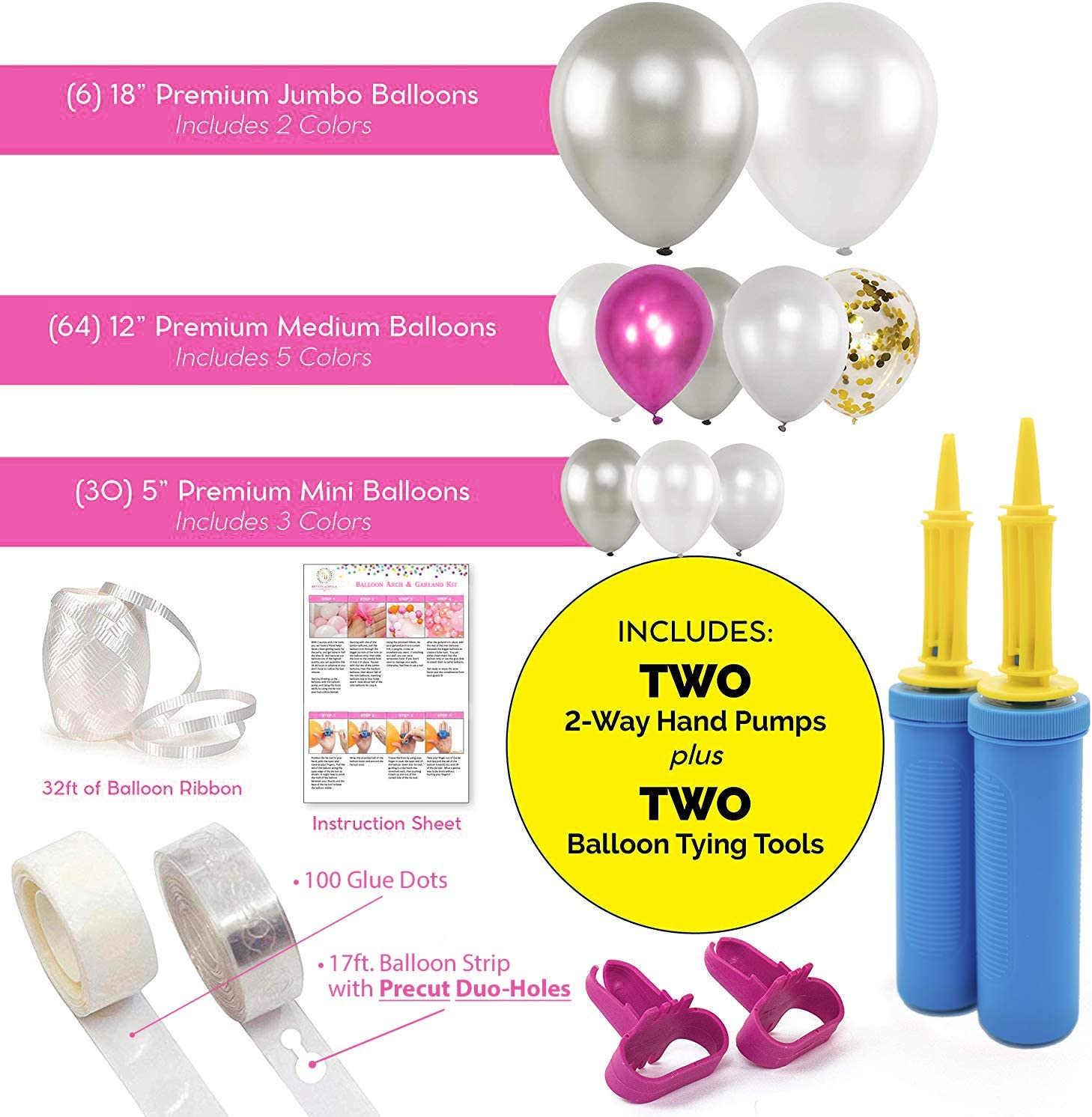 2 Tools Birthdays/&More Decorating Tape Strip Large//Med//Small Bridal//Baby Showers Bachelorette Parties 100 Gold Chrome//White//Confetti Weddings Bryson/&Bella Balloon Arch Garland Kit: 2 Pumps