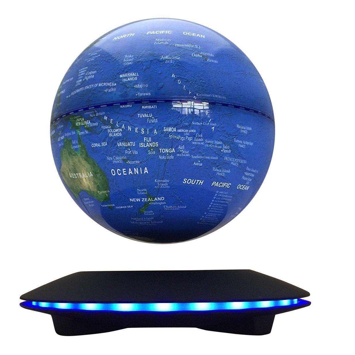 Woodlev Maglev Magnetschwebebahn Levitron Floating rotierende Wireless Übertragung Touch Control drei Gänge 6 Blue Globe Schwarz Plattform LED Anpassung Home Decor