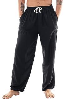 a83e701197 CandyHusky Mens Loose Fit Casual Summer Pajama Workout Tai Chi Yoga Pants  Rayon