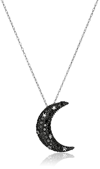 Amazon 10k white gold black and white diamond moon pendant 10k white gold black and white diamond moon pendant necklace 910 cttw aloadofball Image collections