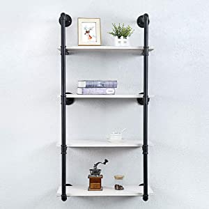 Industrial Pipe Shelving Wall Mounted,24in Rustic Metal Floating Shelves,Steampunk Real Wood Book Shelves,Wall Shelf Unit Bookshelf Hanging Wall Shelves,Farmhouse Kitchen Bar Shelving(4 Tier)