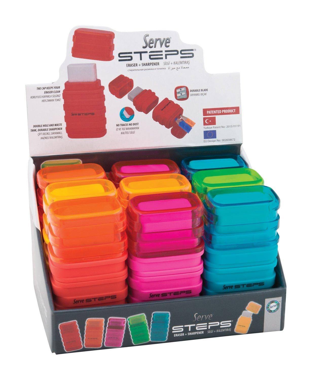 Serve SV Step S9KT Steps Eraser and Sharpner One Body Paper Box, Pack of 9-Fluorescent Colors by Serve (Image #1)