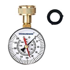 "Measureman 2-1/2"" Water Pressure Test Gauge, 3/4"" Female Hose Thread, 0-200 psi/kpa with Maximum Pressure Memory"