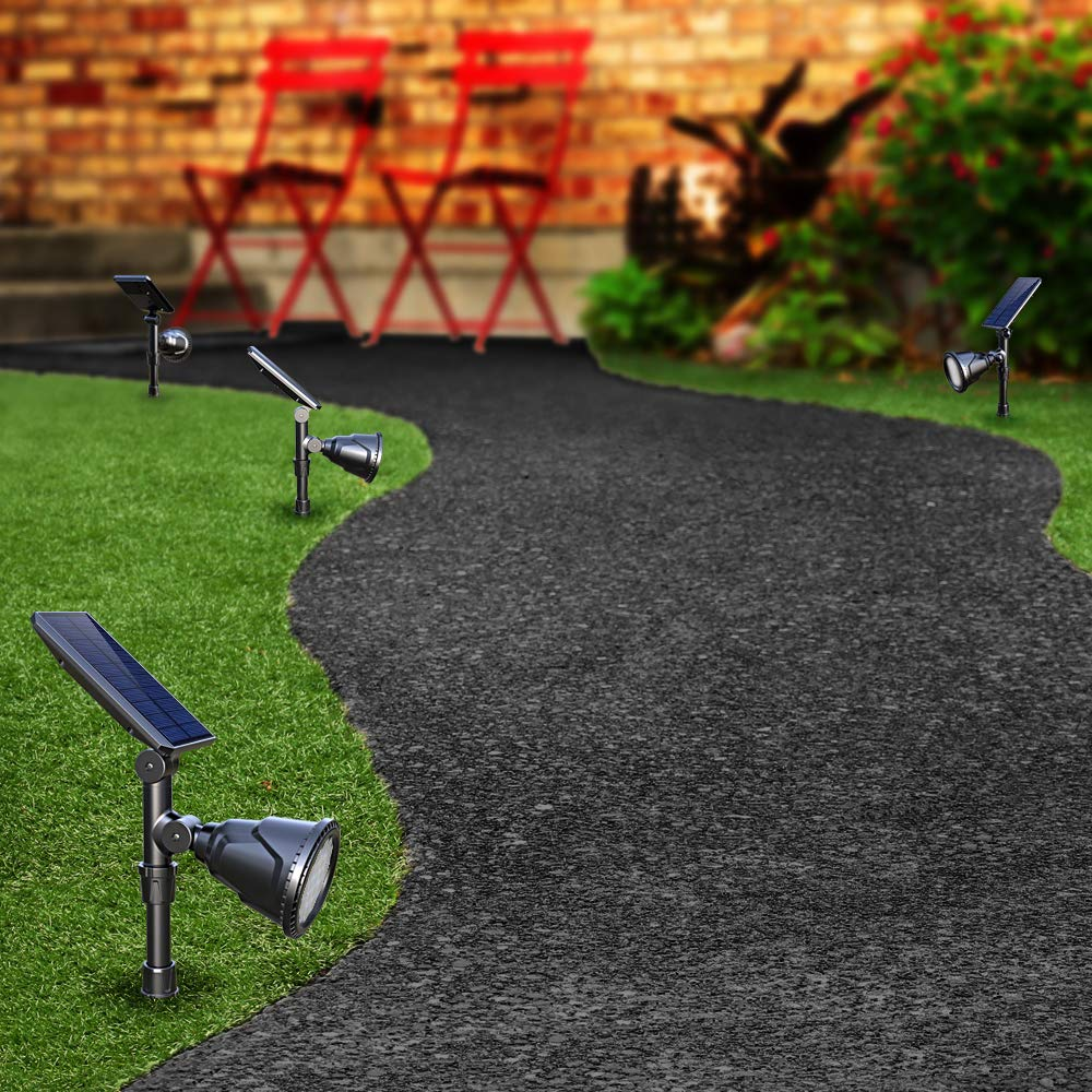 DBF Solar Lights Outdoor, Latest 18 LED Waterproof Solar Spotlights Solar Landscape Lights Auto On/Off Wall Security Lighting for Garden Yard Pathway Driveway Pool Landscaping, Pack of 2 (Cool White) by DBF (Image #8)