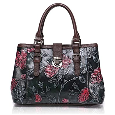 APHISON Designer Unique Embossed Floral Cowhide Leather Tote Style Ladies  Top Handle Bags Handbags C817 53ae68c07fb3f