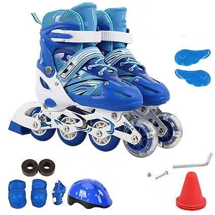 PIAOL Skate Adulto De Una Hilera Patines De Ruedas para Principiantes Flash Seguridad,BlueA-