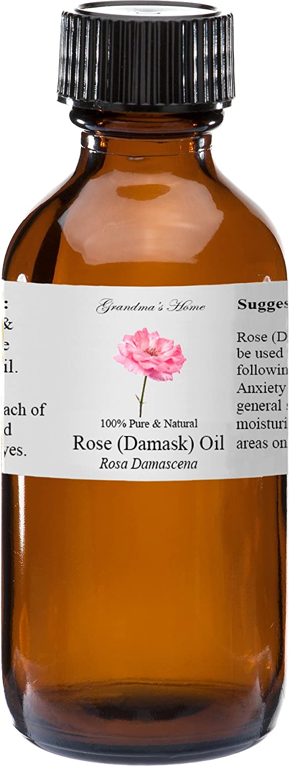 Rose Essential Oil - 2 fl oz -100% Pure and Natural - Therapeutic Grade - Grandma's Home