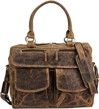 Greenburry Tasche Umhängetasche Expedition Herren Damen braun Leder viele Fächer