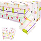 Ice Cream Tablecloth for Birthday Party Decorations - Disposable Plastic Ice Cream Table Cover for Baby Grils Shower Kids Par