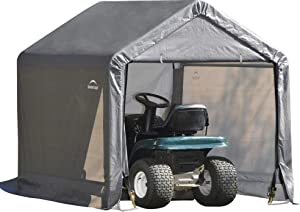 ShelterLogic 6' x 6' Shed-in-a-Box All Season Steel Metal Peak Roof Outdoor Storage Shed with Waterproof Cover and Heavy Duty Reusable Auger Anchors