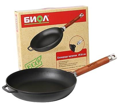 (24 cm) - Biol Cast Iron Pan Black with Removable Handle (24 Centimetre