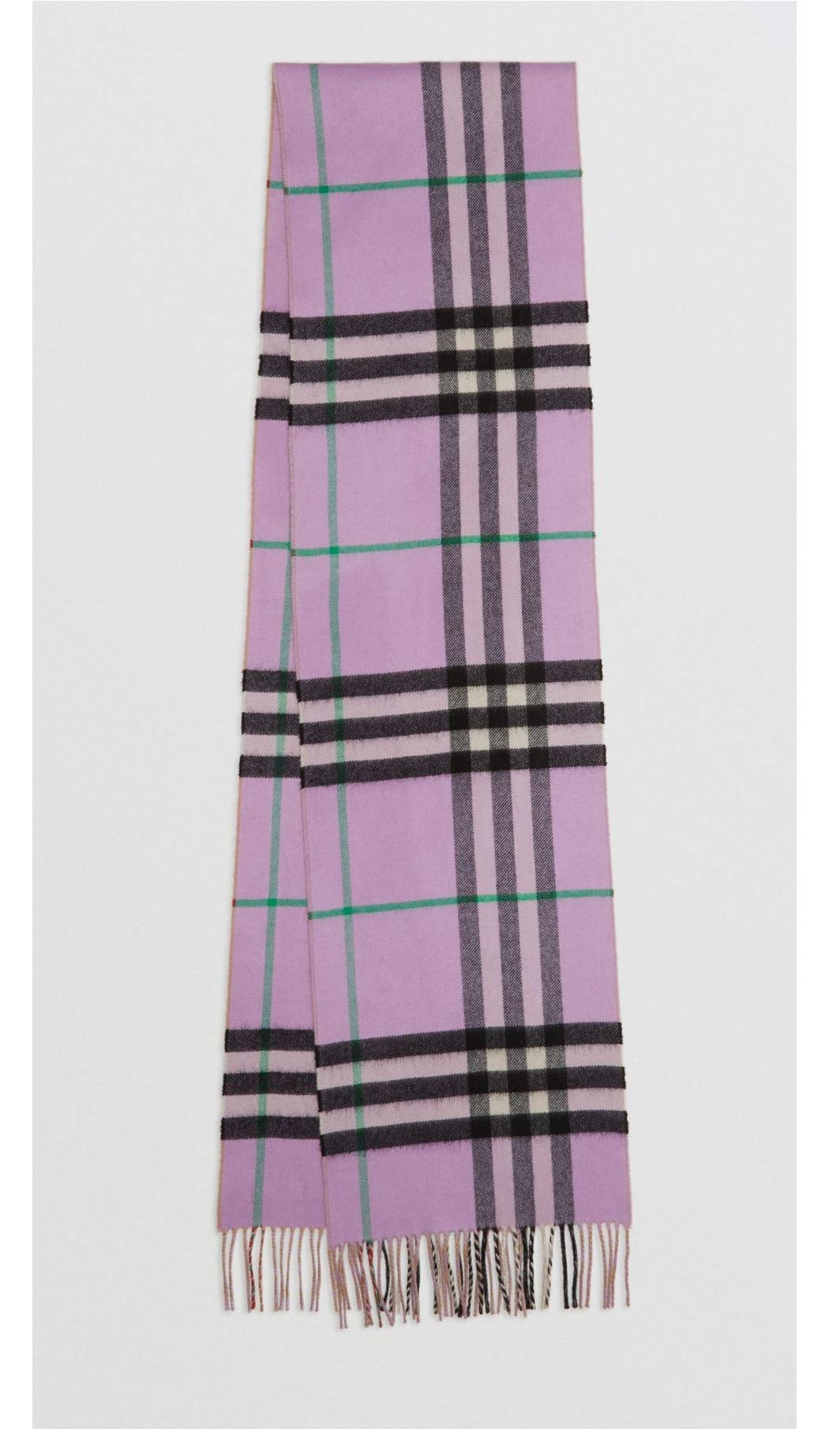 BURBERRY LONDON - 100% Cashmere Scarf Long Reversible Check Double-faced Cashmere Scarf Pale heather 80076251