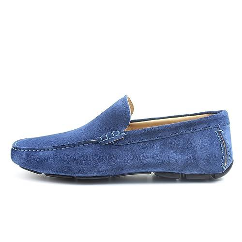 Giorgio Rea Zapatos para Hombre Car Shoes Azul Bluette Elegante Hombre Zapatos Hecho A Mano EN Italia Cuero Real Brogue Oxfords Richelieu Mocasines: ...