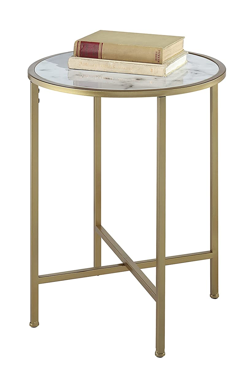 Convenience Concepts Gold Coast Faux Marble Round End Table