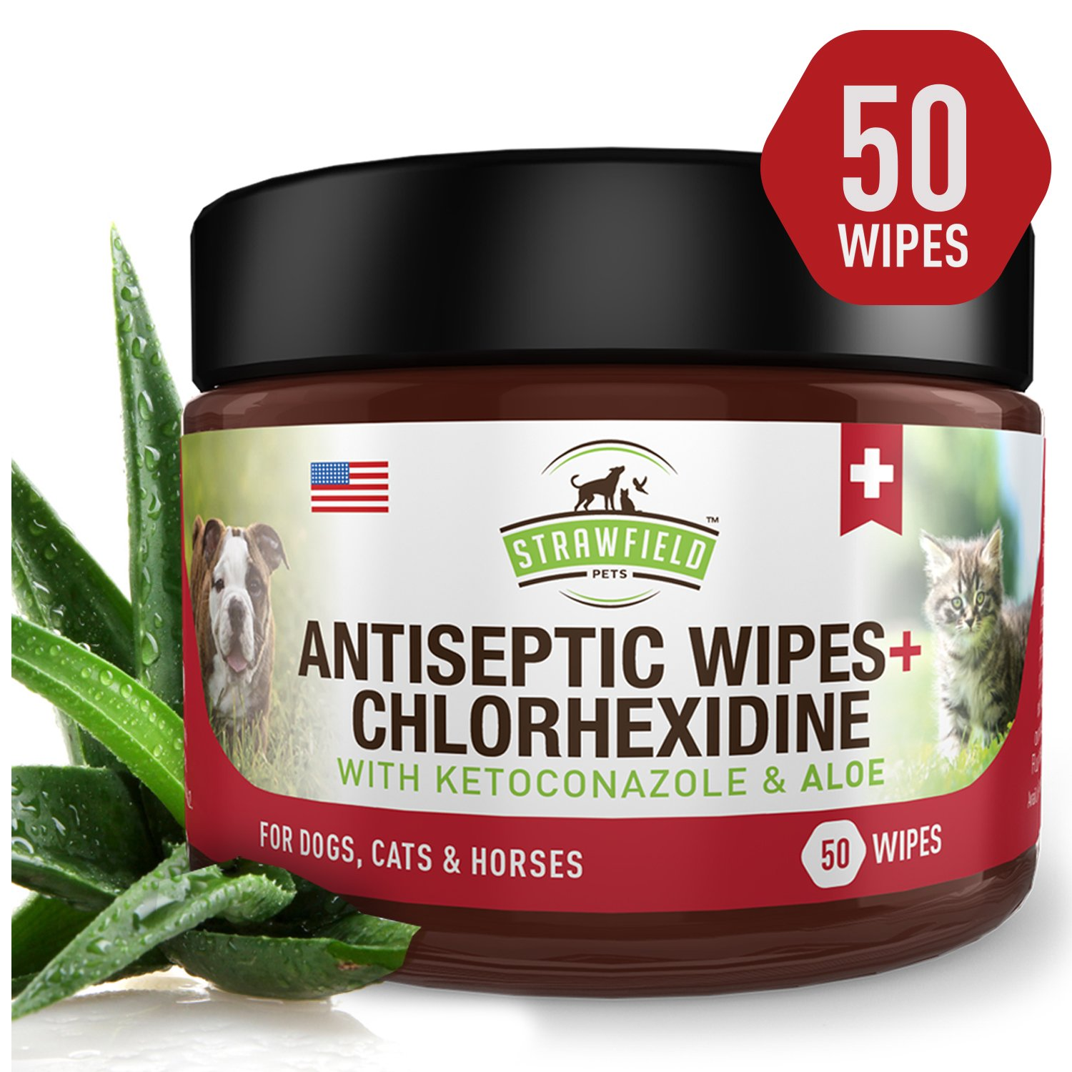 Chlorhexidine Wipes for Dogs + Cats, Ketoconazole + Aloe - 50 Pads - Cat + Dog Hot Spot Treatment, Mange, Ringworm, Yeast Infection, Allergy Itch Relief, Acne, Deodorizer Antibacterial Antifungal, USA by Strawfield Pets