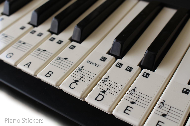 Set de pegatinas para teclado electrónico o piano con 88 teclas, ideal para aprender a tocar rápido, plástico laminado transparente, PS1C 88: Amazon.es: ...