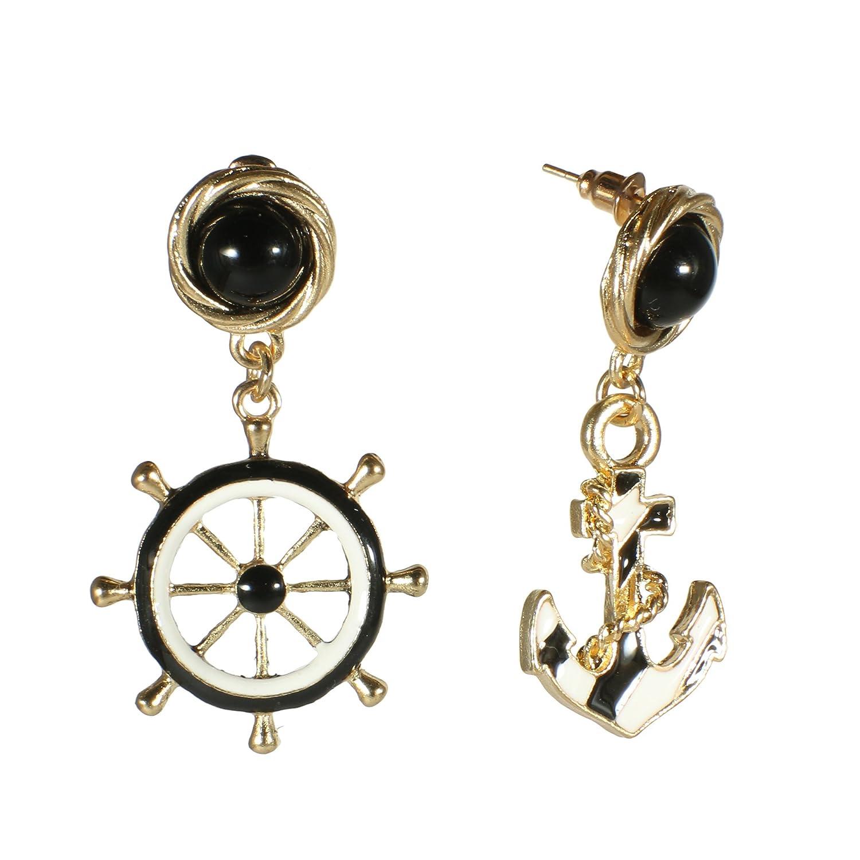 5cf08dbe8 Amazon.com: Fashion Goldtone Anchor Helm Dangle Earrings Black White Enamel  Nautical Marine Maritime Stud Jewelry (Black): Jewelry